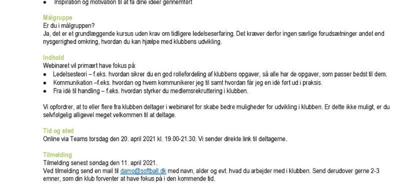 Webinar i KLUB-kompetence