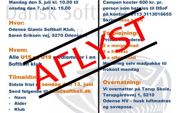 Aflyst – SommerCamp Fyn og u19 drenge dag